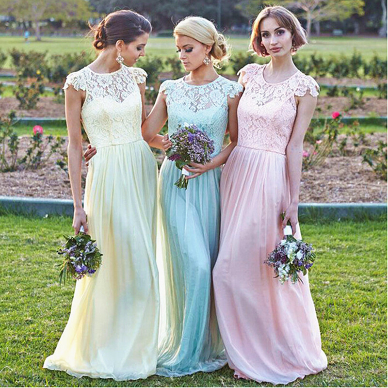 Modest Plus Size Light Pink Bridesmaid Dresses Yellow Green Cap Sleeve Sheer Lace Vestido De Festa In From Weddings