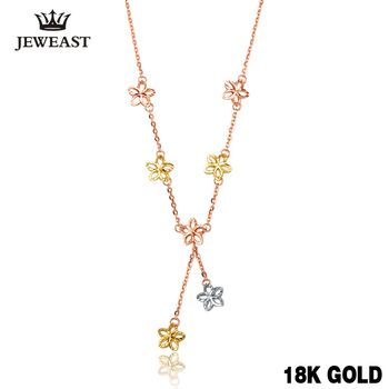 18k Pure Gold Necklace Solid 750 Chain Lucky Clover Women Gril Gift Fine Jewelry Top Quanty Upscale Party Trendy Discount New