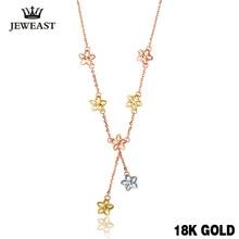 18k Reinem Gold Halskette Solide 750 Kette Glück Clover Frauen Gril Geschenk Edlen Schmuck Top Quanty Gehobenen Party Trendy rabatt Neue