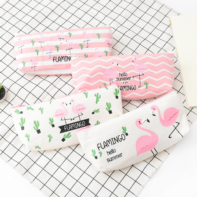 1 Pcs Kawaii Pencil Case  Flamingos Canvas Gift Estuches School Pencil Box Pencilcase Pencil Bag School Supplies Stationery