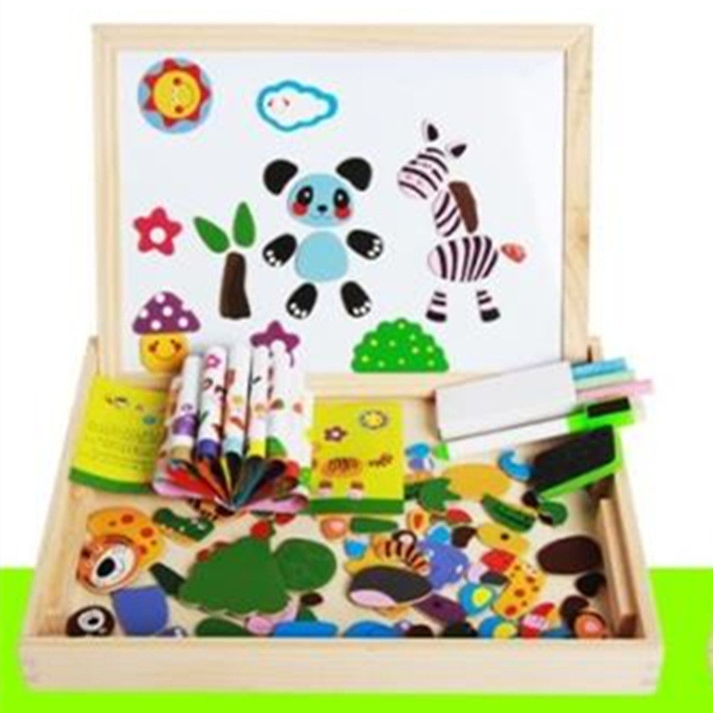 Baby toys magnetic puzzles puzzle wooden box insects insects forest animals happy farm city traffic fight fight magnetic patch цена