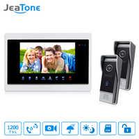 "JeaTone 7 ""Video Tür Glocke Telefon 2 IR Nacht 1200TVL Türklingel kamera und 1 TFT Hände-freies Touch taste Intercom System Kit"