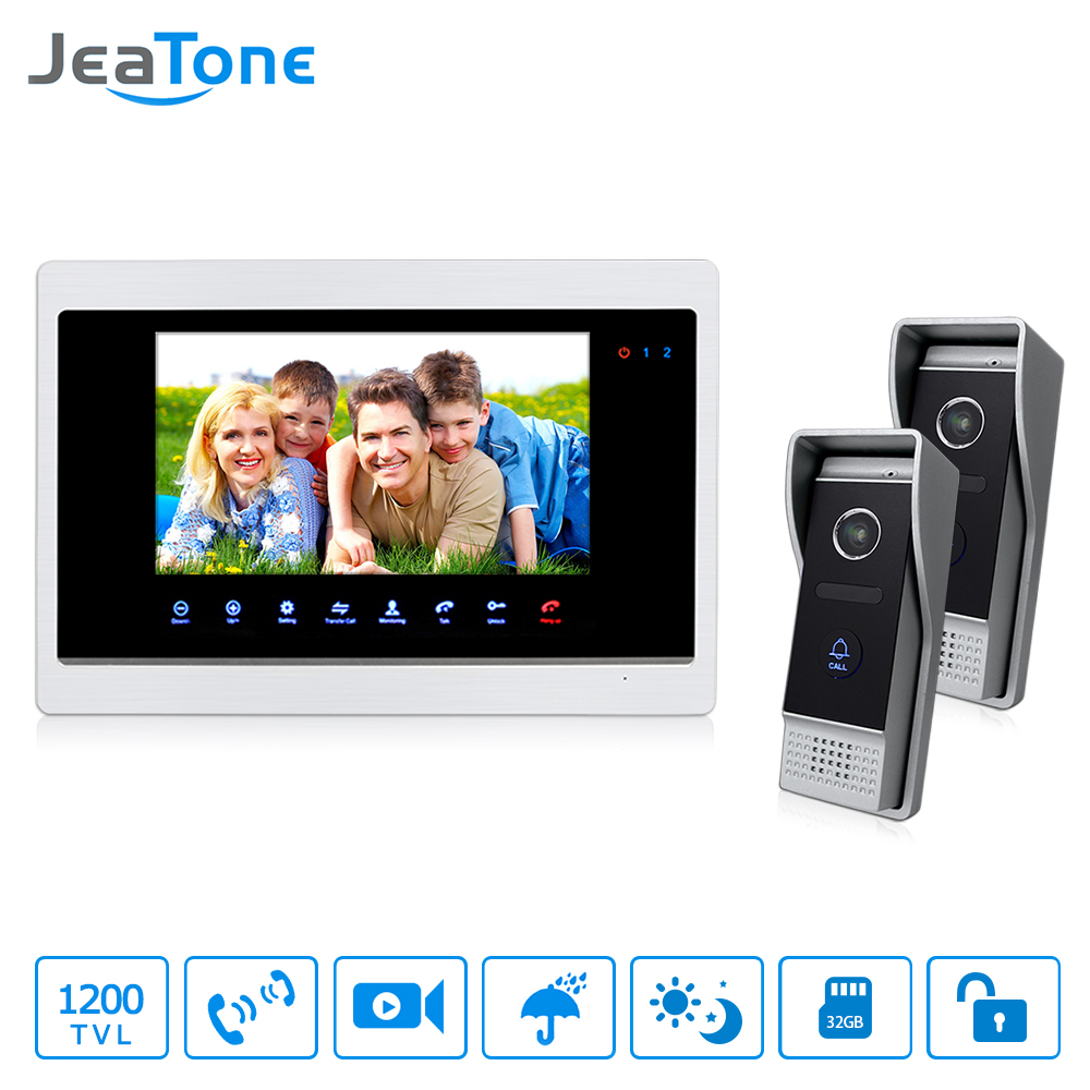 JeaTone 7Video Door Bell Phone 2 IR Night 1200TVL Doorbell camera and 1 TFT Hands-free Touch Button Intercom System Kit jeatone 7 lcd monitor wired video intercom doorbell 1 camera 2 monitors video door phone bell kit for home security system