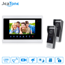 JeaTone 7″Video Door Bell Phone 2 IR Night 1200TVL Doorbell camera and 1 TFT Hands-free Touch Button Intercom System Kit
