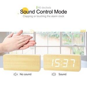 Image 2 - Цифровые часы JINSUN, деревянный светодиодный Будильник, современный квадратный телефон с датчиком температуры и голосовым управлением