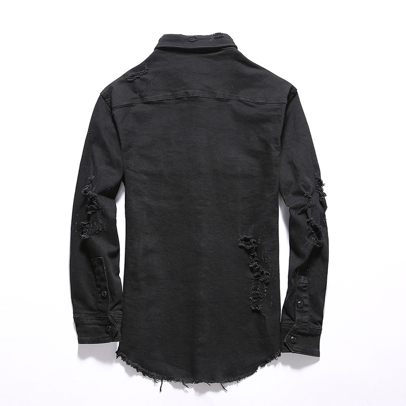 Pour Vestes Black Printemps Yc1119 Hommes Denim Mâle Glands Déchiré Fit Jeans Mode Noir Coton Slim 2018 Manteau aUwqIOSW