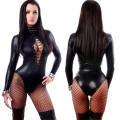 New Women Sexy Lingerie Latex PVC Leather Jumpsuits Bandage Bodycon Costume Leather Cat Girl Sexy Black Hot Fitness Bodysuit