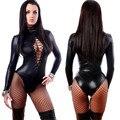 Nueva Mujeres Sexy Lingerie PVC Látex Buzos Bodycon Del Vendaje de Cuero Traje de Cuero Chica Gato Negro Sexy Hot Traje de Fitness