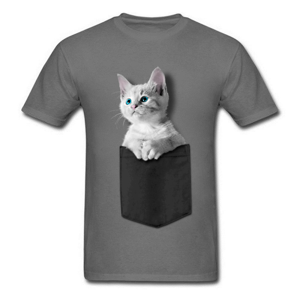 Pocket Kitten 100% Cotton Men Short Sleeve Tops Tees Normal NEW YEAR DAY Tshirts Custom T-shirts 2018 Newest Round Collar Pocket Kitten carbon