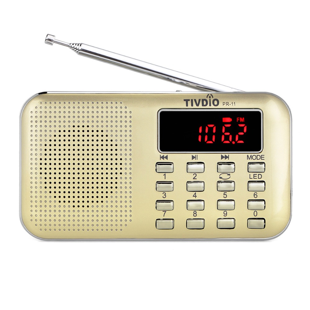 Tivdio pr-11 portable sintonización digital FM/AM Radios receptor con reproductor de música MP3 linterna f9210j