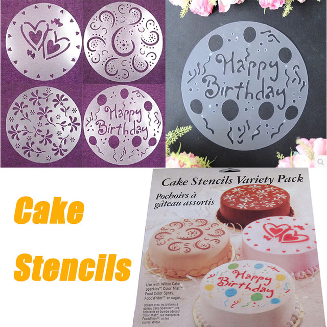 4Pcs Set Creative Cake Stencils Flower Heart Birthday Spray Mold Template Christmas Decorating Tool