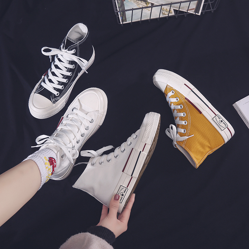 new High top canvas shoes womens casual shoes breathable sneakers women vulcanized shoes yellow comfortable high top flat shoes in Women 39 s Vulcanize Shoes from Shoes