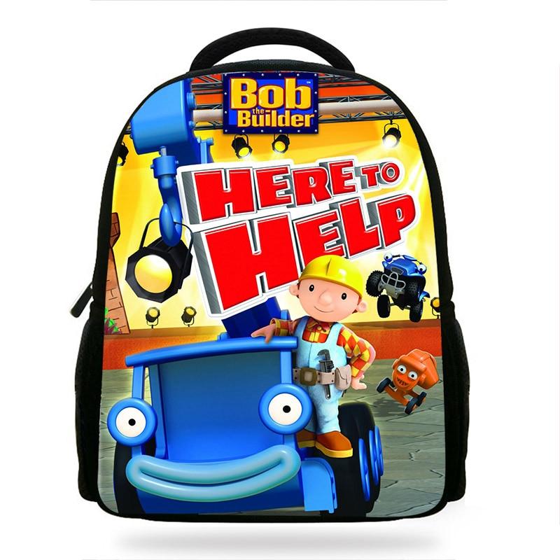 14-inch Children Bob The Builder Backpack Boys Cartoon Kindergarten Backpacks Kids School Bags Bookbag Corlorful Backpacks