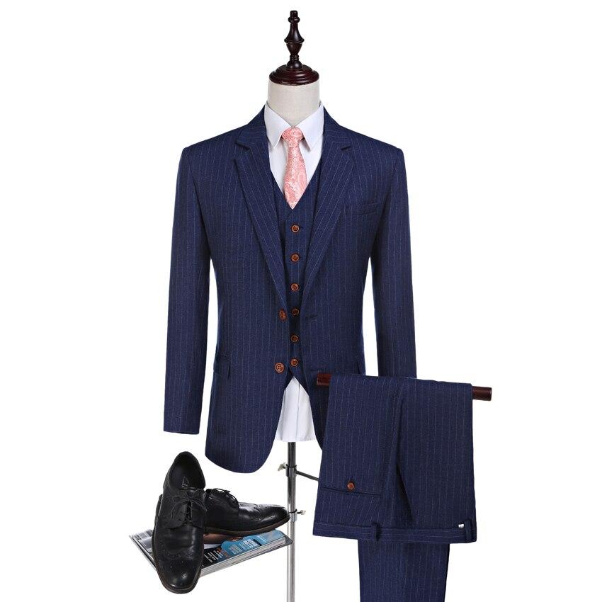 Новое поступление полосатой ткани жениха Смокинги для женихов камвольной шерсти Костюмы дружки костюм Индивидуальный заказ человек костю