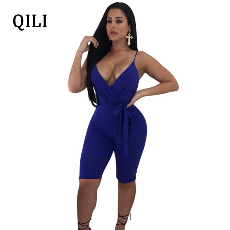 dd772f7db9b QILI Sexy V-Neck Strap Sleeveless Jumpsuits Rompers Solid Belted Bodycon  Rompers Summer Women Skinny