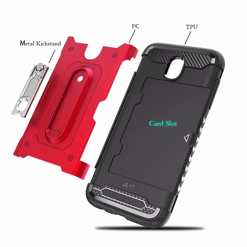 LUPHIE PC TPU Rugged Armor Shockproof Mobile Phone case for Samsung J3 J5 J7 2017 EU version Case J7 Metal stents slot Card case in Fitted Cases from Cellphones Telecommunications