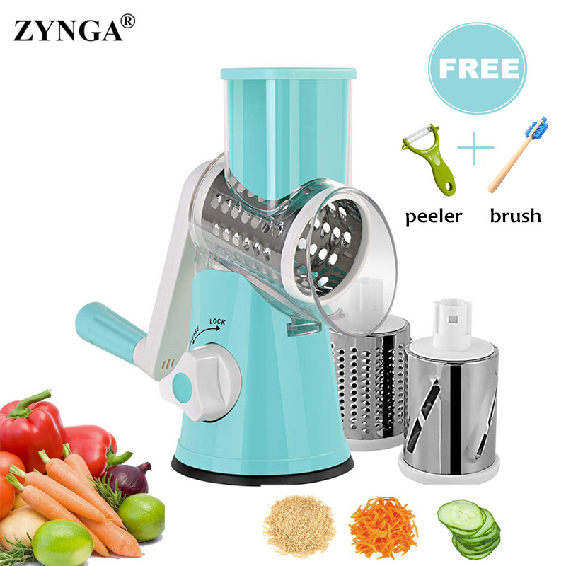 Vegetable Cutter Rotary Manual Vegetable Cutter Slicer Fruit Slicer Round Drum Rotary Cheese Grater 3 color