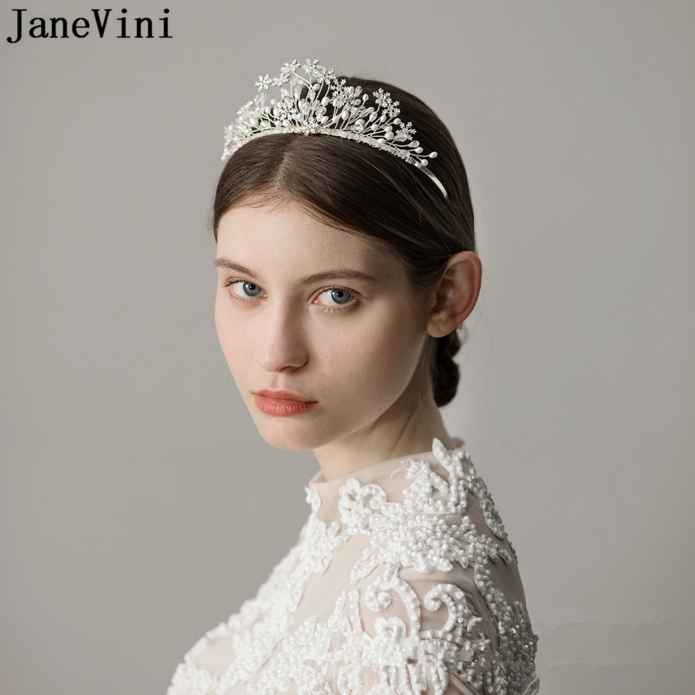 JaneVini Elegant Crystal Wedding Crowns and Tiaras Princess Headband Pearls Bridal White Jewelry Tiaras Wedding Hair Accessories