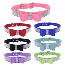 personality Soft  Leather Puppy Dog Collar Bling Rhinestone Bowknot Kitten Cat Collars For Small Medium Dogs Cats Chihuahua Pink цена