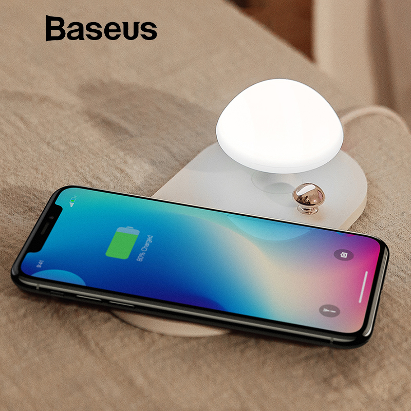 Baseus Mushroom QI wireless charger with bedside Night light 10W wireless charging pad for iphone X