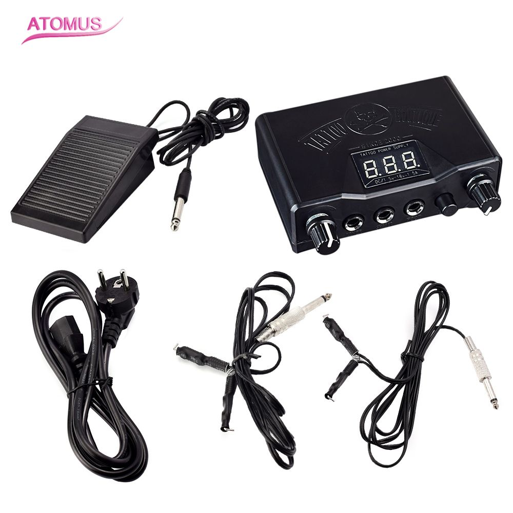 Professional Tattoo Black Stable Tattoo Power Supply Digital LCD  Machine Foot Pedal Switch Clip Cords With Euro Plug black outstanding stability tattoo power supply digital lcd dual machine foot pedal switch 2 clip cords with chinese plug