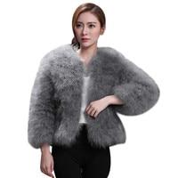 Women 2017 Fur Coat Genuine Ostrich Fur Winter Jacket Retail / Wholesale Top Quality Manteau Femme Hiver Feather Coat