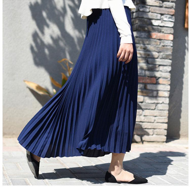 2019 Women Spring/Autumn Solid Pleated Skirts A-Line Long Skirt Stretch High Waist Women Maxi Skirt Longa Falda Elegant Skirts