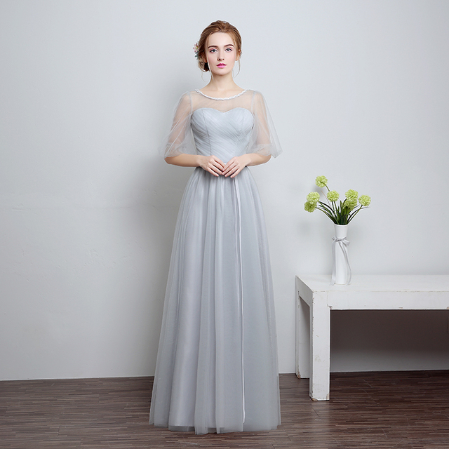 689abd89b3d Shanghai Story Silver Fashion Long Dress Plus Size For Party Dresses Women s  Long Porm Dress