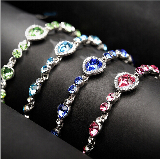 Korea New Hot Heart Crystal font b Women b font Bracelet Fashion Jewelry Elegant Lady All