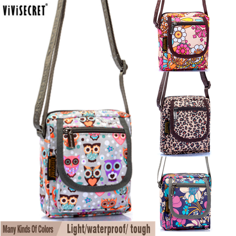 Women Small Messenger Bag Waterproof Multi Layer Cross Body Cute Cartoon Owl Fl Printed Bags Mini