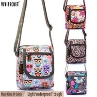 Women Small Messenger Bag Waterproof Multi Layer Cross Body Cute Cartoon Owl Floral Printed Bags Mini