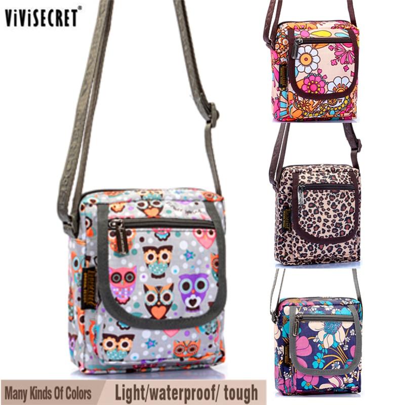 Women Small Messenger Bag Waterproof Multi layer Cross body Cute Cartoon Owl Floral Printed Bags Mini Hobo Coin Phone Purse