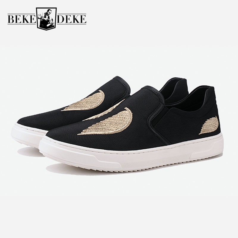 2018 Spring Embroidery Flat Men Loafers Fashion Slip On Leather Black Mocassin Homme Korean Style Casual Shoes Men Zapatillas