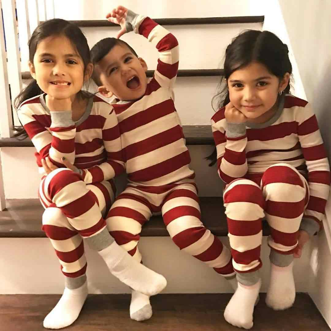 ... Xmas Striped Family Matching Outfits Set Christmas Family Pajamas Set  Adult Kid Sleepwear Nightwear Pjs Photgraphy 854f1a627
