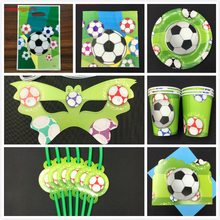 92pcs Football theme birthday party plates napkin card for kids favors cups dishes