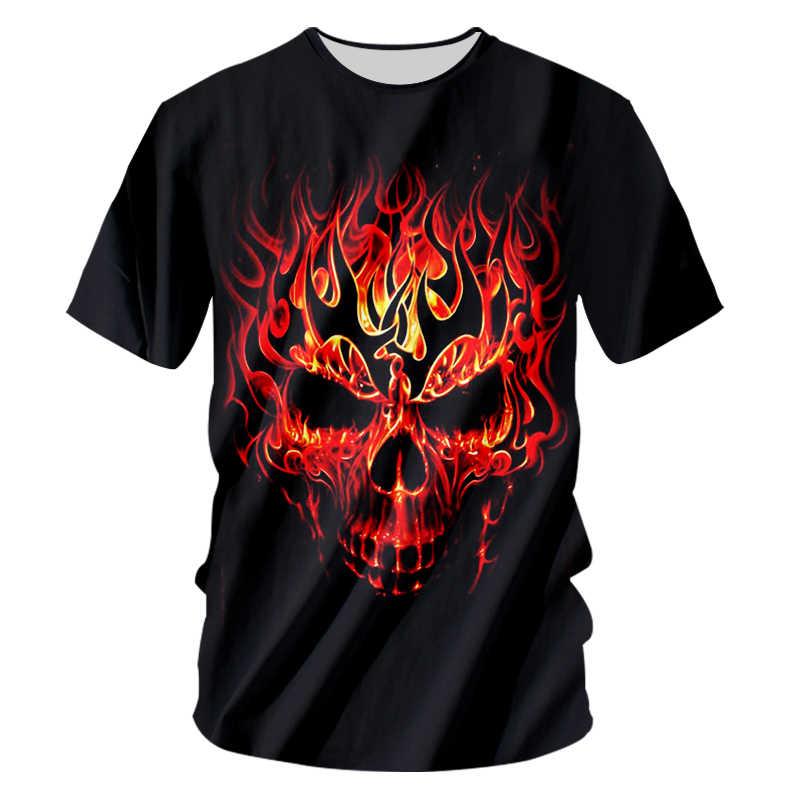 UJWI, футболка с круглым вырезом, Для мужчин в стильном принте красного огненного черепа 3D Мужские футболки в стиле хип-хоп уличная спортивная футболка мужская, с коротким рукавом футболки