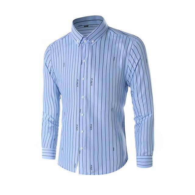 ファッションストライプシャツ男性長袖青白黒カジュアルビジネスシャツ男性ドレスシャツスリムフィット Camisas