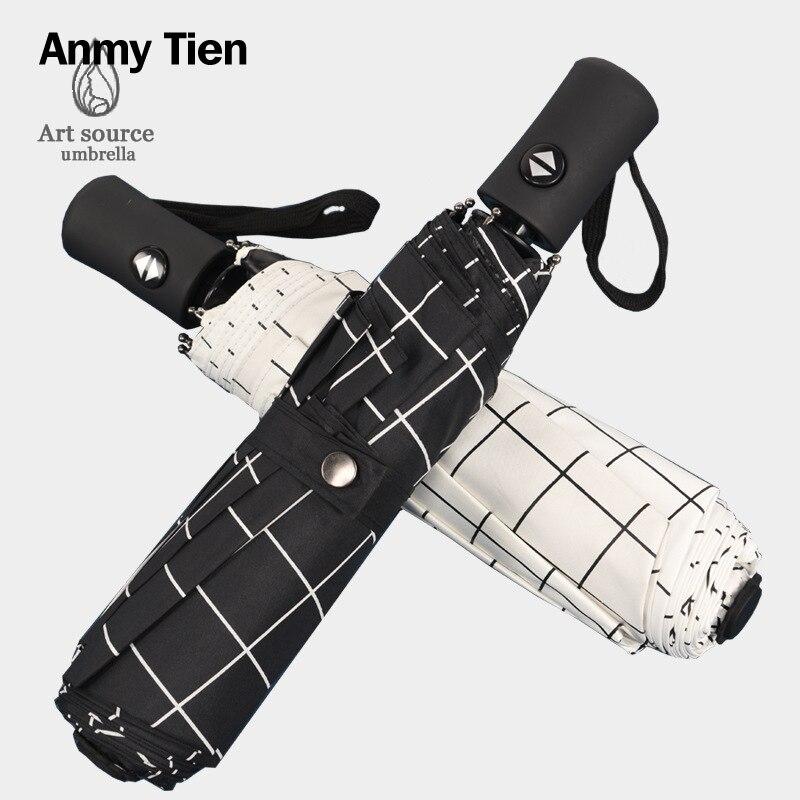 Mesdames soleil petit parapluie coupe-vent pluie femmes homme automatique pliant Guarda Chuva Uv parasol femme mâle parapluie pour le soleil