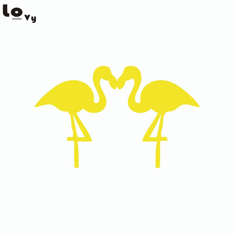 Couple Flamingo Birds Silhouette Wall Sticker Cartoon Animals Vinyl ...