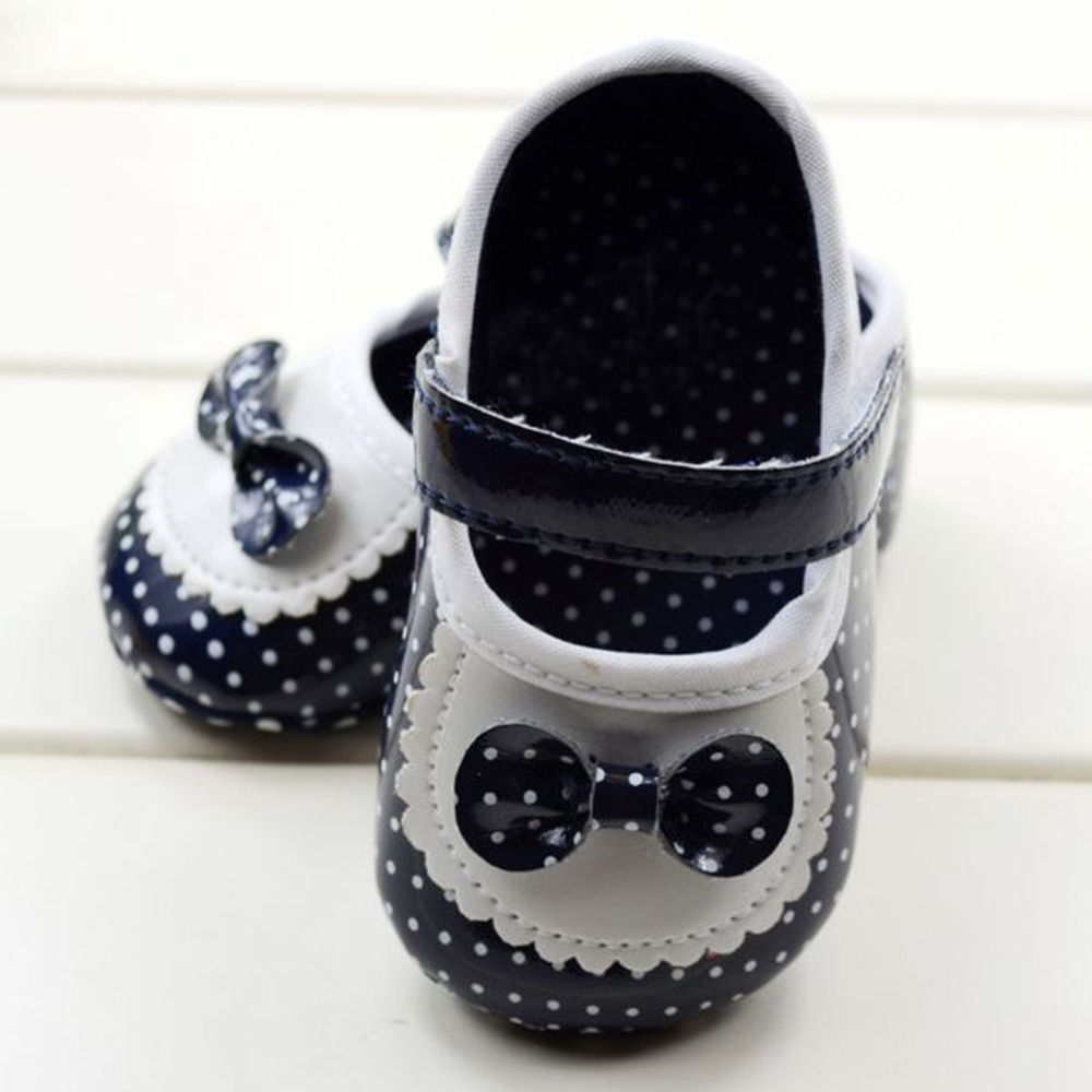 New Style Black And White Dot Bow Slip Baby Kids Toddler Shoes Soft Bottom Shoes 0-12M
