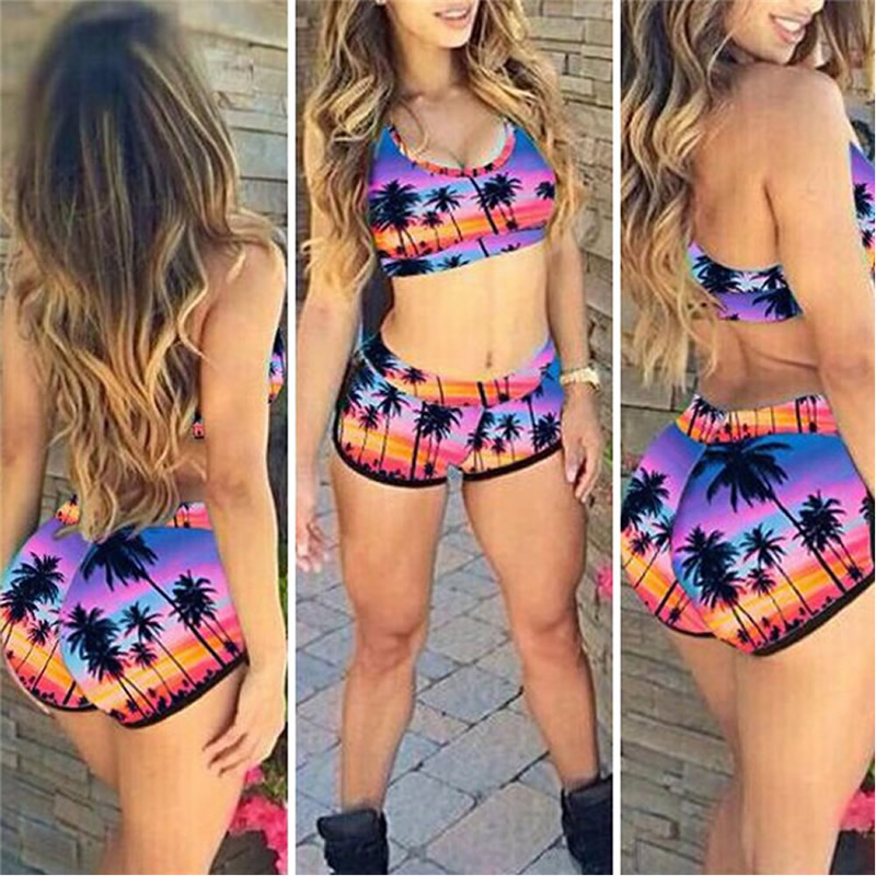 KLV Sexy Women's Crop Top High Waist Shorts Bikini Beach Beachwear Swimwear Bathing Hawaii 8 Style Choice