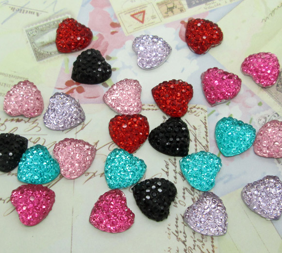 200Pcs Resin Mixed Bling Gypsophila Heart Decoration Crafts Flatback Cabochon Scrapbook Fit Hair Clips Embellishments Beads Diy