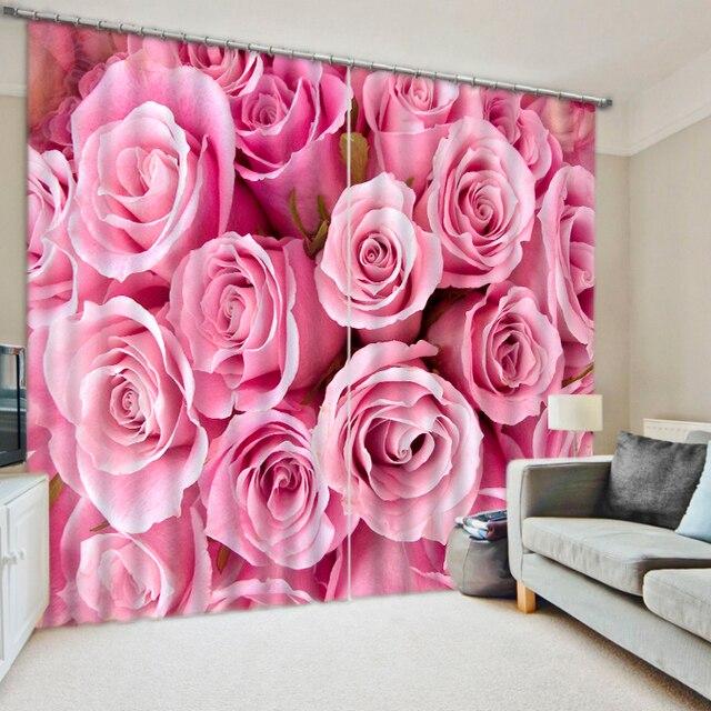 Luxury European Curtain Modern Customize Photo romantic rose ...