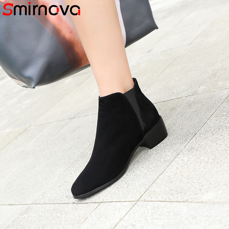 Smirnova 2018 fashion autumn boots women round toe med heels ankle boots classic prom shoes suede leather boots big size 34-43 smirnova big size 34 43 fashion shoes woman round toe women boots zip low heels mid calf boots natural genuine leather boots
