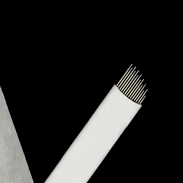 Wave  14 Pins Permanent Makeup Eyebrow Tatoo Blade Microblading Needles  Wire drawing eyebrow needle For Tattoo Manual 3