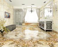 Custom 3d Stereoscopic Flooring Wallpaper Retro Flower 3d Floor Murals Self Adhesive Waterproof PVC Wallpaper 3d