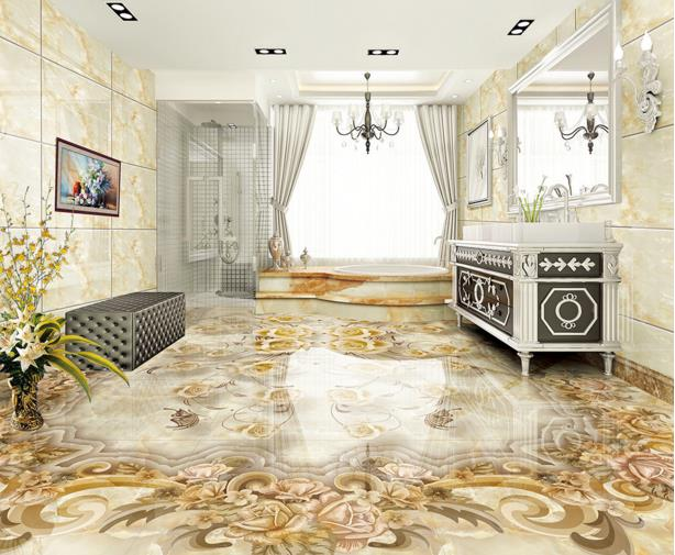Custom 3d stereoscopic flooring wallpaper retro flower 3d floor murals self-adhesive waterproof PVC wallpaper 3d floor tiles carpenter 108