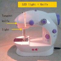 Hot Bán Điện Gia Dụng Mini Sewing Machine với Ánh Sáng LED và Cung Cấp Điện Thủ Công DIY Sartorially Miễn Phí Vận Chuyển