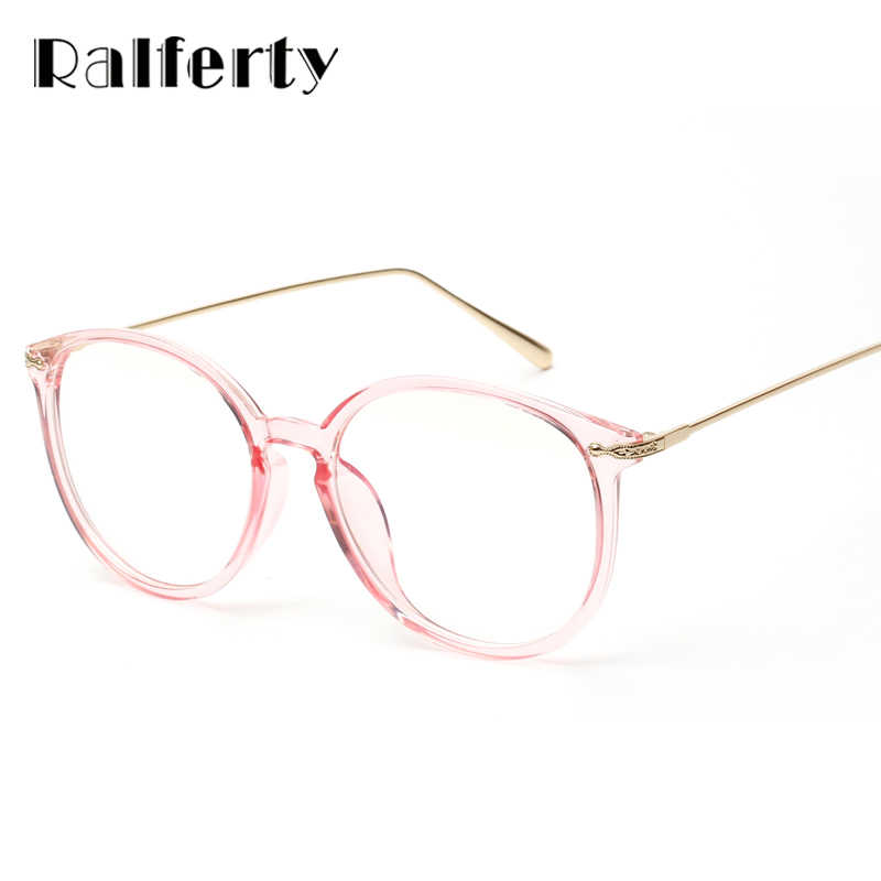 b7cceafc3c Ralferty Transparent Glasses Frame With Clear Lens Oversized Oval Eyeglasses  Women Gold Myopia Optical Frames Spectacles