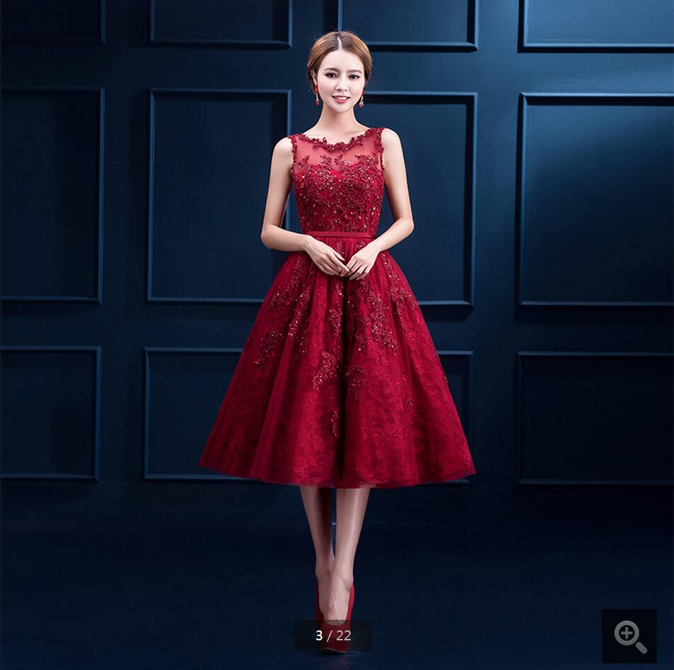 2016 latest style wine lace a line appliques   prom     dresses   sheer back sexy tea length beading   prom   gowns best selling